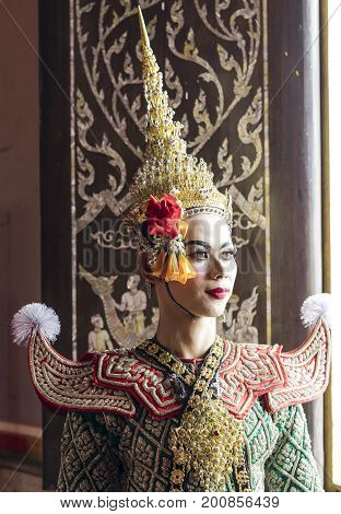 Praram is character of traditional dance drama art of Thai classical masked this performance is Ramayana THAI KHON epic