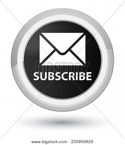 Subscribe (email Icon) Prime Black Round Button