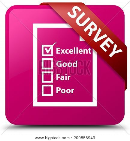 Survey (questionnaire Icon) Pink Square Button Red Ribbon In Corner