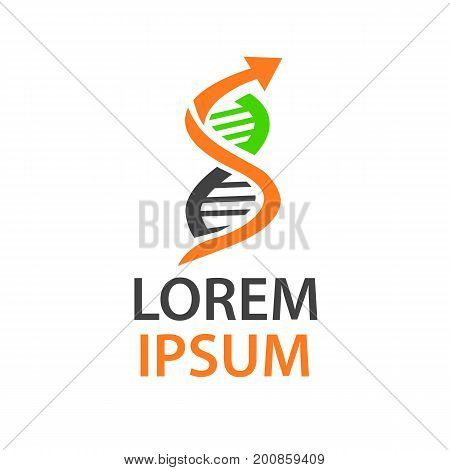 dna research with an arrow , logo design, dna structure, isolated on white background.