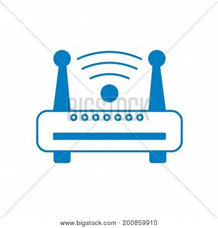 silhouette router wifi connection network technology vector illustration