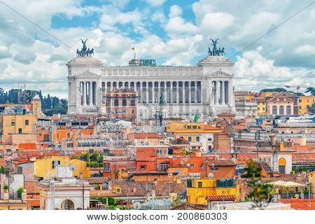 View Of The City Of Rome From Above, From The Hill Of Terrazza Del Pincio.institute For The History