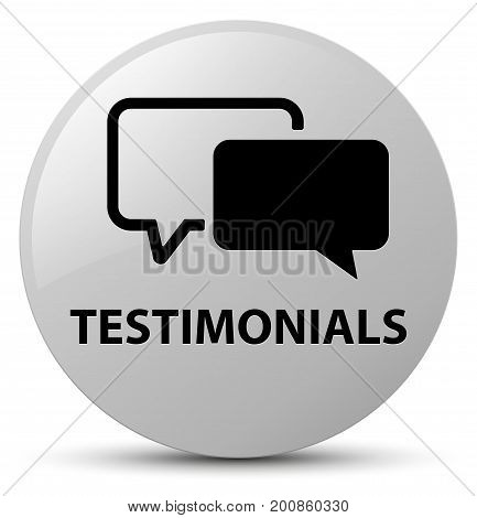 Testimonials White Round Button