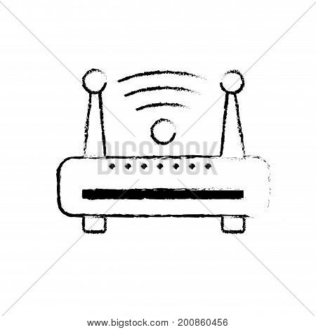figure router wifi connection network technology vector illustration