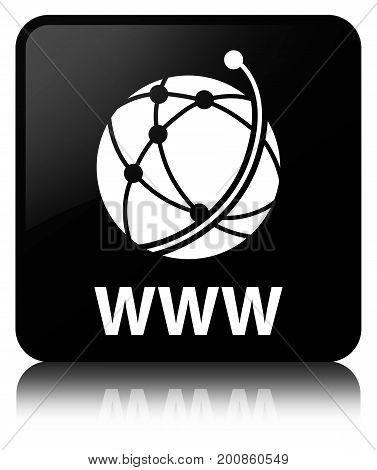 Www (global Network Icon) Black Square Button