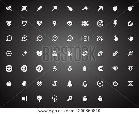Set of flat game icons in cartoon style. 2d asset for user interface GUI in mobile application or casual video game.