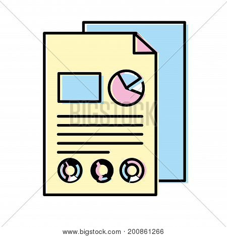 business documents with statistics diagram graphy vector illustration