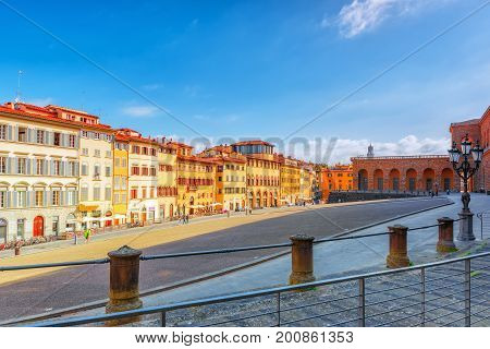 Florence, Italy- May 14, 2017:  Pitti Square (piazza Pitti)  In Florence - City Of The Renaissance O
