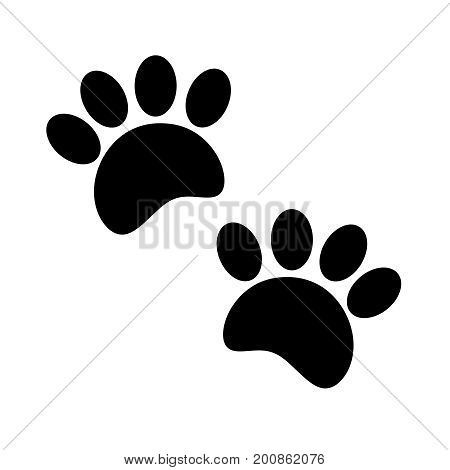 Paw print animal track black on a white isolated background.