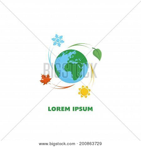 Logo earth and four seasons. The seasons - winter, spring, summer and autumn. Season simple elements concept.