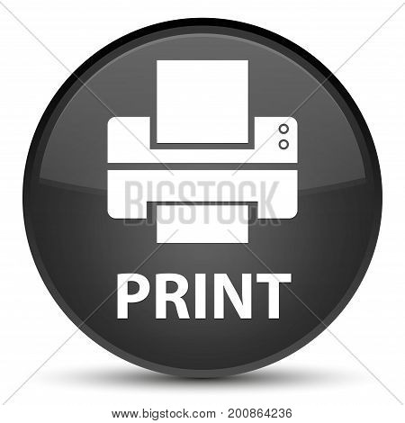 Print (printer Icon) Special Black Round Button