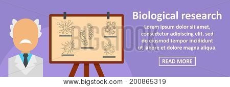 Biological research banner horizontal concept. Flat illustration of biological research banner horizontal vector concept for web