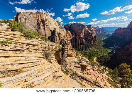 Autumn scenery in Zion National Park, with beautiful sandstone formations