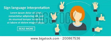 Sign language interpretation banner horizontal concept. Flat illustration of sign language interpretation banner horizontal vector concept for web