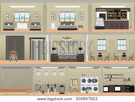 Hotel interior set with reception rooms restaurant laundry cafe sauna and gym flat design vector illustration.