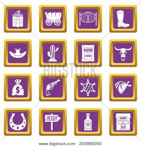 Wild west set design logo. Simple illustration of 16 wild west logo vector icons set in purple color isolated vector illustration for web and any design