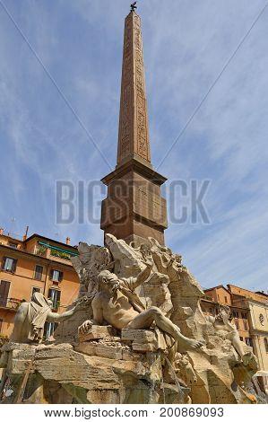 Fontana dei Quattro Fiumi centre Rome, Italy.
