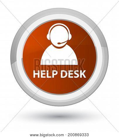 Help Desk (customer Care Icon) Prime Brown Round Button
