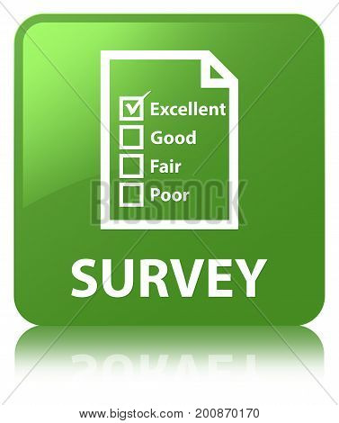 Survey (questionnaire Icon) Soft Green Square Button
