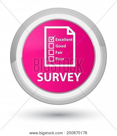 Survey (questionnaire Icon) Prime Pink Round Button