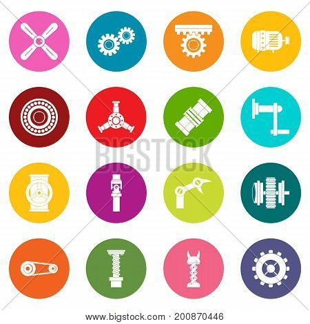 Techno mechanisms kit icons many colors set isolated on white for digital marketing