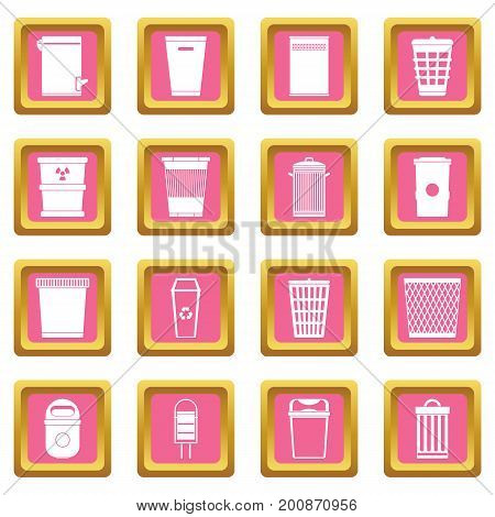 Trash can icons set in pink color isolated vector illustration for web and any design