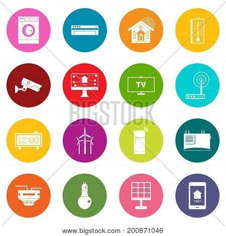 Smart home house icons many colors set isolated on white for digital marketing