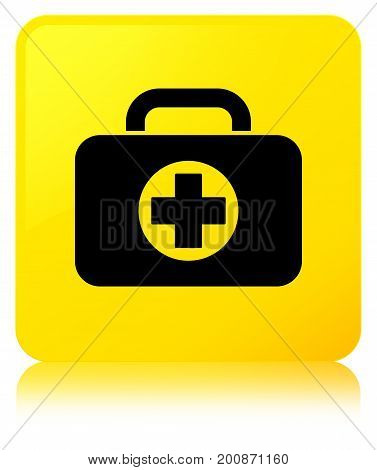First Aid Kit Bag Icon Yellow Square Button