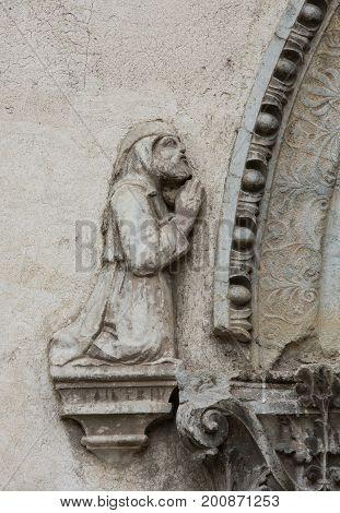 Bas-relief of Man in Castelvecchio Museum. Verona Italy