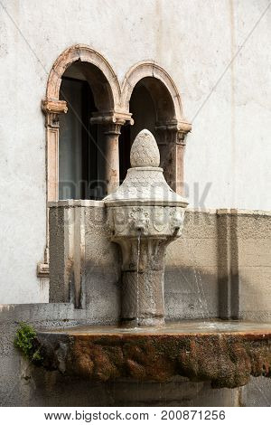 Small fountain in Castelvecchio Museum. Verona Italy