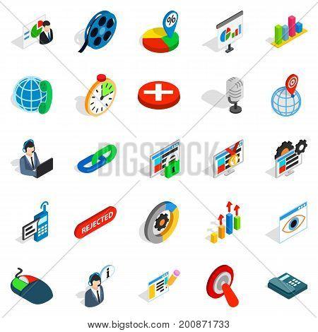 Information bureau icons set. Isometric set of 25 information bureau vector icons for web isolated on white background