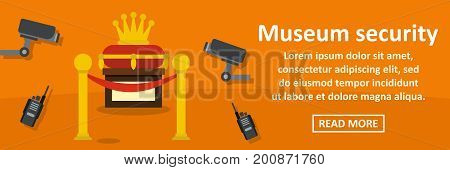 Museum security banner horizontal concept. Flat illustration of museum security banner horizontal vector concept for web