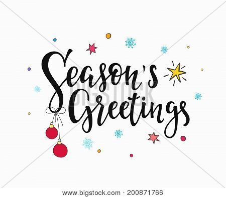 Season Greetings Merry Christmas Happy New Year simple lettering. Calligraphy postcard or poster graphic design element. Hand written sign. Photo overlay Winter Holidays vector. Santa