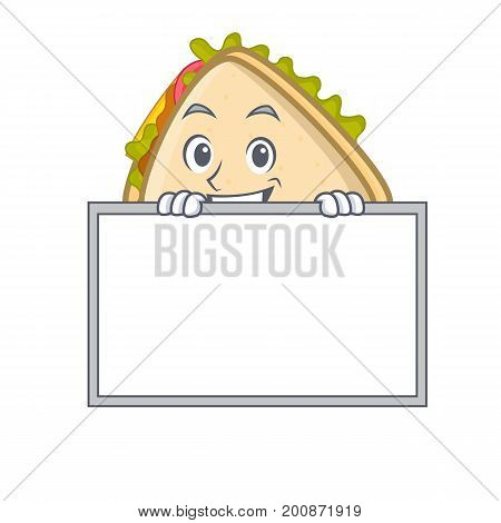 Grinning with board sandwich character cartoon style vector art