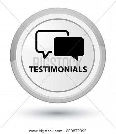 Testimonials Prime White Round Button