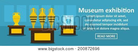Museum exhibition banner horizontal concept.Flat illustration of museum exhibition banner horizontal vector concept for web