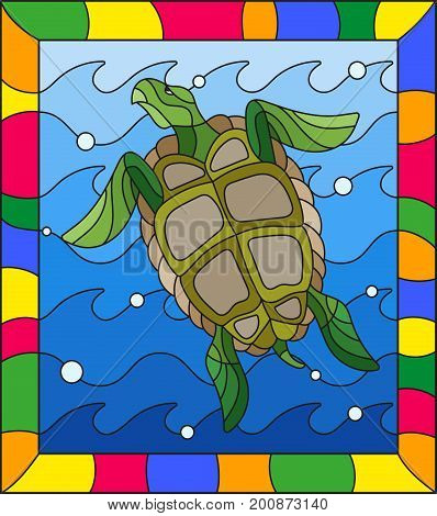 Illustration in stained glass style turtle into the waves and bubbles of air in a bright frame