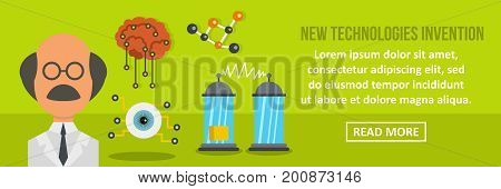 New technologies invention banner horizontal concept.Flat illustration of new technologies invention banner horizontal vector concept for web