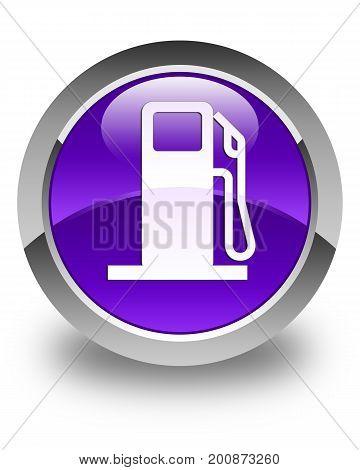 Fuel Dispenser Icon Glossy Purple Round Button