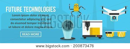 Future technologies banner horizontal concept.Flat illustration of future technologies banner horizontal vector concept for web