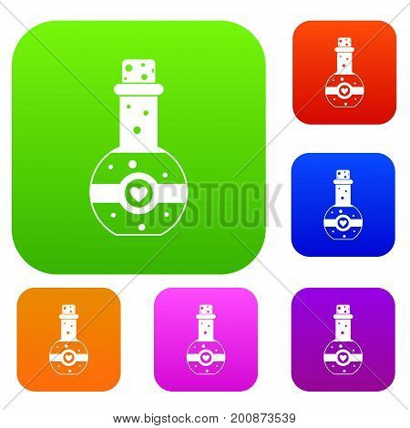 Flask of love elixir set icon in different colors isolated vector illustration. Premium collection