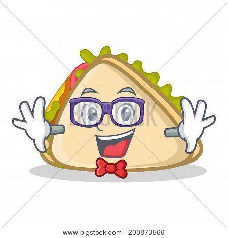 Geek sandwich character cartoon style vector illustration