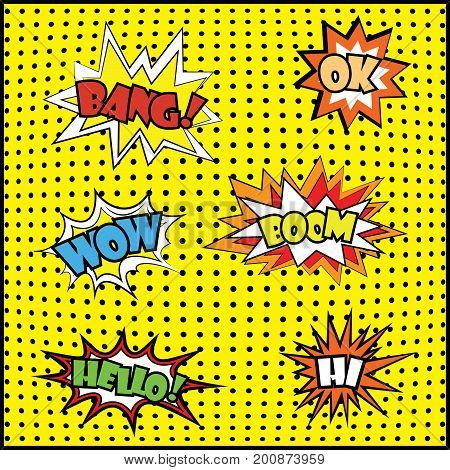 Wow Comic Sound Effects In Pop Art Vector Style,