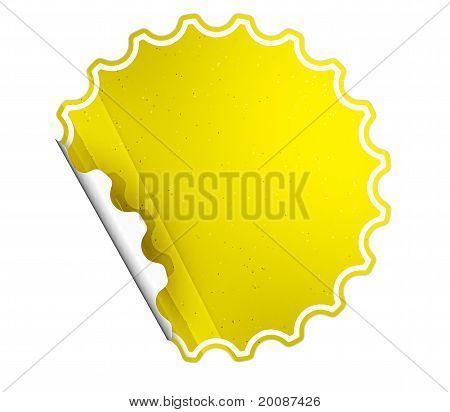 Yellow Round Hamous Sticker Or Label