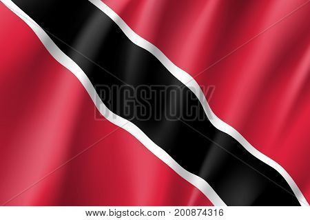 Flag Trinidad realistic icon. State insignia of the nation in realistic style on the entire page. Waving state flag. National symbol in the form of a vector illustration