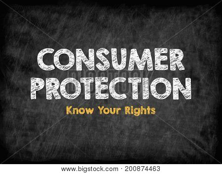 Consumer Rights Protection concept. Black board with texture, background.