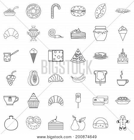 Dessert icons set. Outline style of 36 dessert vector icons for web isolated on white background