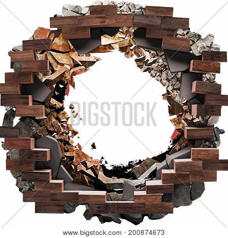 Break through Big Hole on the floor, tiles, bricks concrete background