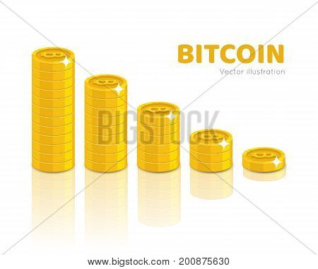 Bitcoin stack set. Virtual currency exchanging and storing, good digital wallet. Financial growth concept. Cartoon vector illustration on white background