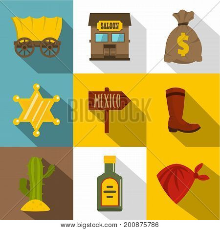 Retro wild west icons set. Flat set of 9 retro wild west vector icons for web with long shadow